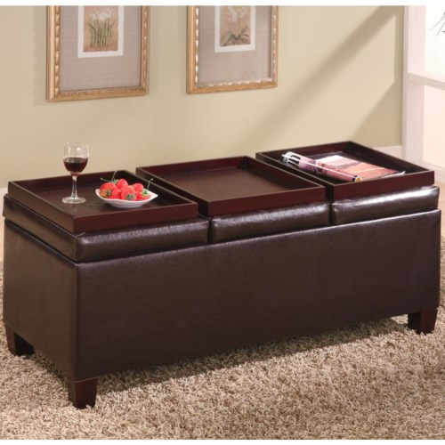 Coaster Ottomans Contemporary Faux Leather Storage Ottoman With Reversible Trays Fine Furniture