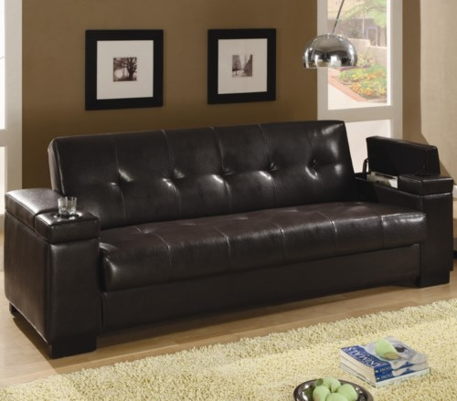 Coaster Sofa Beds and Futons Faux Leather Convertible Sofa Sleeper
