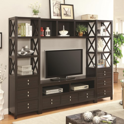 Coaster Entertainment Units Wall Unit With 9 Drawers And Shelves Fine Furniture