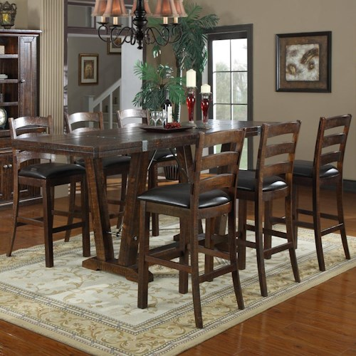 Emerald Castlegate 7 Piece Counter Height Table And Stool Set