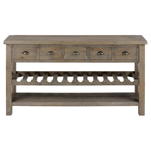 Jofran Slater Mill Pine Wine Rack And Server With Drawers