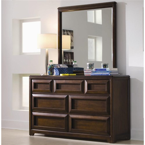 Lea Industries Elite Expressions Dresser With 7 Drawers Featured Rectangular Mirror