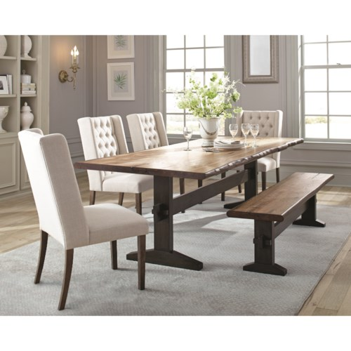 Scott Living Burnham Rustic Live Edge Dining Table Set With Bench Coaster Fine Furniture