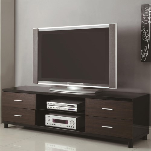 Favorite Coaster TV Stands 4 Drawer Two Tone TV Stand with 2 Shelves  FQ71